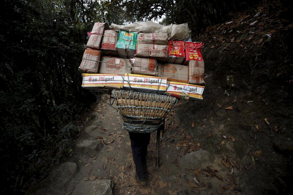 A porter carrying goods heads towards Namche, in Solukhumbu district, also known as the Everest region, in this picture taken November 28, 2015. REUTERS/Navesh Chitrakar