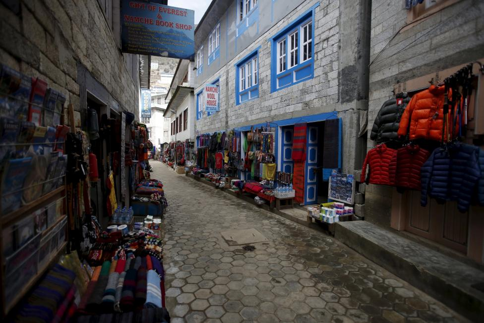 An empty street at a market in Namche in Solukhumbu district, also known as the Everest region, in this picture taken November 29, 2015. REUTERS/Navesh Chitrakar