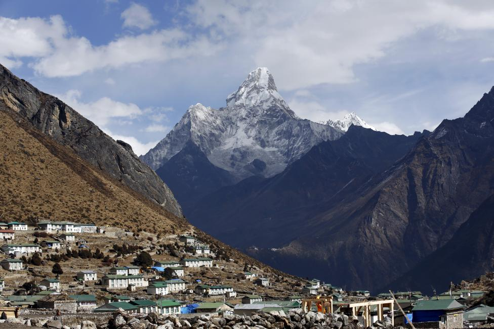 Mount Ama Dablam is seen behind Khumjung a typical Sherpa village in Solukhumbu District also known as the Everest region, in this picture taken November 30, 2015. REUTERS/Navesh Chitrakar